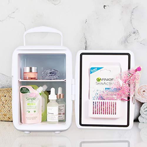 Global Gizmos Mini-Kühlschrank | vielseitiger Kühler und Wärmer | Aufbewahrung von Snacks, Getränken und Beauty-Produkten | tragbar mit Tragegriff (weiß)