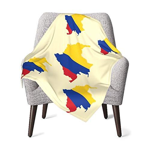 Manta de bebé para niños y niñas, Mapa de Colombia Manta de pañales para guardería para el hogar suave manta de cama unisex para sofá de peluche 30 x 40 pulgadas