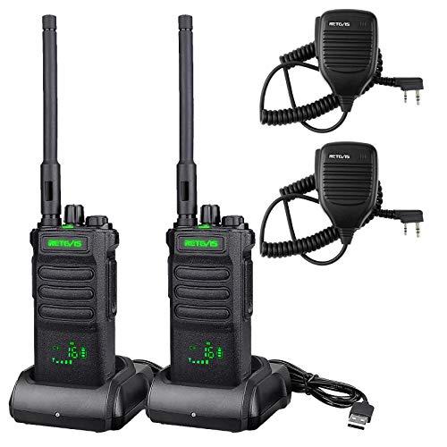 Retevis RT86 Funkgerät mit Großer Reichweite, Hochleistungs-Walkie-Talkie mit Lautsprechermikrofon, 2600mAh Tragbares Funkgeräte, Kabelloses Klon Notfallradio für die Fertigung(Schwarz, 2 Stück)