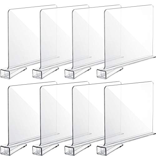 8 Pieces Acrylic Shelf Dividers Wood Closets Shelf Separator and Organizer Clear Wood Shelf Organizer for Storage and Organization in Bedroom and Kitchen, No Installation Tools Required