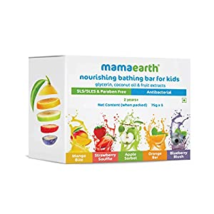 Mamaearth Fruit Based Nourishing Clear Bathing Bar Baby Soap with Glycerine, for Kids – 75g x 5 3 41r6L6CMG5L. SS300