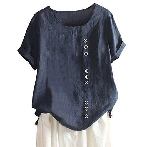 AMhomely Womens Casual Loose Button Linen Plus Size Daily Boho Tanic T-Shirt Blouse Tops