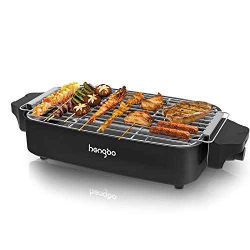 Tischgrill Elektrisch Elektrogrill BBQ Rauchfreier Barbecue Grill mit Metall-Auffangschalen für Balkon Innen Party, 1800W - Schwarz