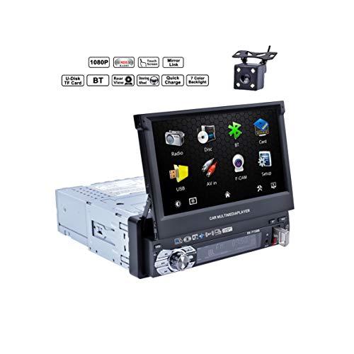 Reakosound Reproductor MP5 7 pulgadas Radio de Coche con Pantalla Táctil Bluetooth Radio 1 din para coche FM / AM/ USB /AUX Control de Volante
