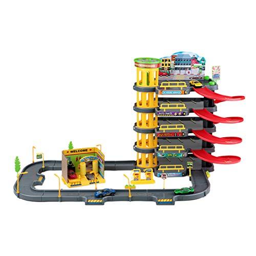 Yavso 3D Garaje Coches Juguete - Parking Infantil de 5 Plantas - Aparcamiento con 4 Coche, Garaje Juguete para Niños
