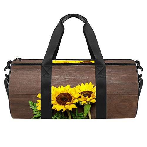Bouquet di girasoli foglie di felce struttura in legno Sport palestra borsa cilindrica da viaggio con tasca bagnata leggera borsa allenamento viaggio con tracolla per uomini e donne