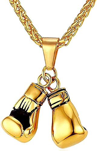 BEISUOSIBYW Co.,Ltd Collar de Moda con Colgante de Guante de Boxeo, Collar para Hombre, Cadena de Acero Inoxidable de Color Dorado, joyería Deportiva de Moda, envío Directo al por Mayor