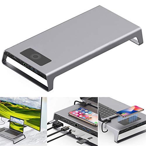 Laptop Stand De Aluminio con Hub USB 3.0, El Soporte del Monitor Coumputer Vertical con Cable Cargador USB, Tiene Teclado Y Ratón Monitor De Almacenamiento