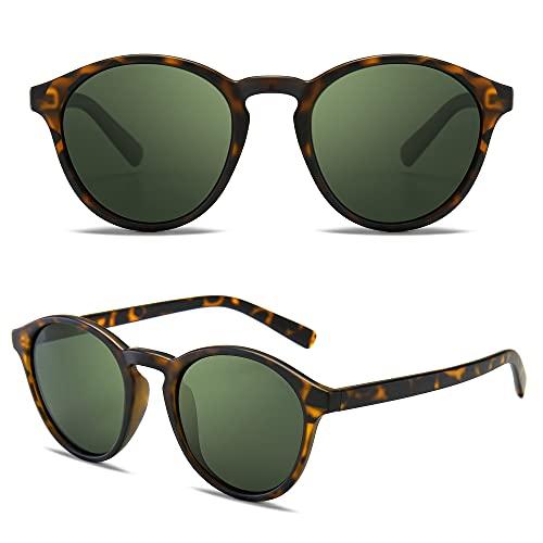 SUNGAIT Gafas de Sol Redondas Clásicas Unisex Gafas de Sol Polarizadas Estilo Retro Vintage Protección UV(Ámbar/Verde)-SGT166