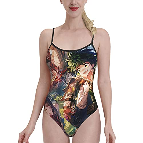 GONGYPND My Hero Academia - Traje de baño de buceo para mujer, simple de corte bajo, pierna alta, bikini de una pieza, tallas grandes, tirantes delgados, sexy, sin espalda