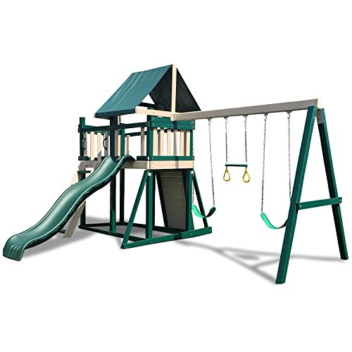 Read About CONGO Monkey Playsystem #1 with Swing Beam - Green and Sand Low Maintenance Play Set