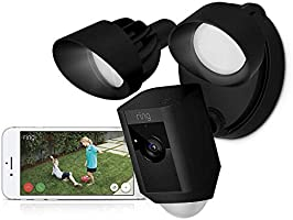 Ring Floodlight Cam-Wi-Fi Smart Home Security Camera Black-Wired - Led lights- Two way talk - Full HD live video-...