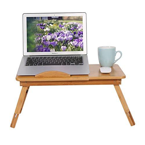 Soporte portátil de bambú para computadora portátil Escritorio plegable Mesa para computadora portátil Bandeja de cama para computadora portátil Mesa de cama, Bandeja de mesa de desayuno para cama, Di