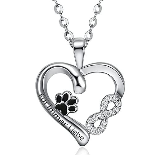 Meilanty Halsketten für Frauen Herzkette Unendlichkeitszeichen Kette Silber Damen Pfotenabdruck Kette mit Gravur Für Immer Liebe 47cm+5cm Kette Katze Geschenk für Mädchen 10 Jahre