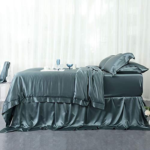 Orose 4Pcs 25MM Silk Sheets Set 100% Charmeuse Mulberry Silk Bed Sheet Set,Queen Size Seamless,Thick, Heavy Silk,Deep Pocket Indigo