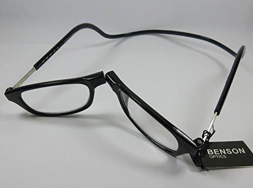 BENSON Lesebrille +1,5 schwarz mit Magnetverschluss Damen & Herren Fertigbrille