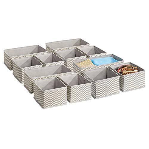 mDesign Stoffbox für Schrank oder Schublade – die ideale Stoff Aufbewahrungsbox – 12er-Pack:...
