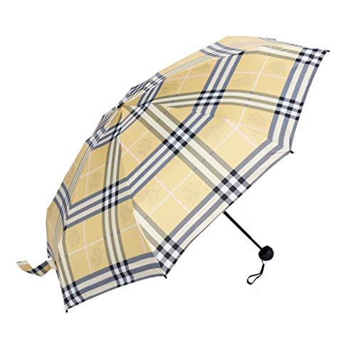Tingting1992 Paraguas clásico de Estilo británico Enrejado Paraguas de Cinco Pliegues Mini Bolsillo Paraguas de Doble Uso en un día Soleado y lluvioso (Color : Yellow)