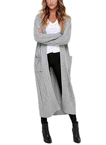 Dokotoo Womens Ladies Cozy Fashion Winter Casual Open Front Long Sleeve Pocket Long Chunky Cable Knit Cardigans Sweater Coat Outerwear Grey Small
