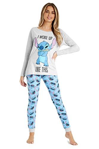 Disney Lilo y Stitch Pijama Mujer Invierno, Pijamas De 2 Piezas Camisetas Mujer Manga Larga Y Pantalón con Personaje Stitch, Ropa De Dormir Algodón Tallas 36-46, Regalos para Chicas (S)