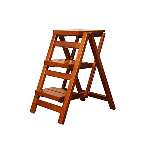 Best Review Of JiangYuenly&12 Home Multi-Function Indoor Folding Ascending Solid Wood Ladder Chair S...