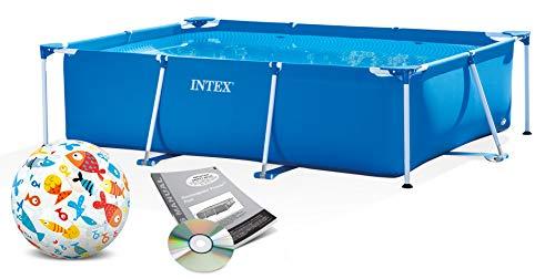 Intex Small Frame Swimming Pool 220x150x60 cm Schwimmbecken Schwimmbad 28270 mit Extra-Zubehör: Strandball