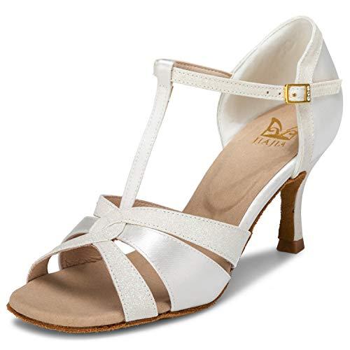 JIA JIA 20519 Damen Sandalen Ausgestelltes Heel Super-Satin mit funkelnden Glitter Latein Tanzschuhe Farbe Elfenbein,Größe 39 EU