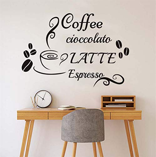 Zyzdsd WandtattooskaffeeLatte Espresso Aufkleber Vinyl Aufkleber Tasse Bohnen Home Decor Küche Cafe Restaurant Removable Wandbild