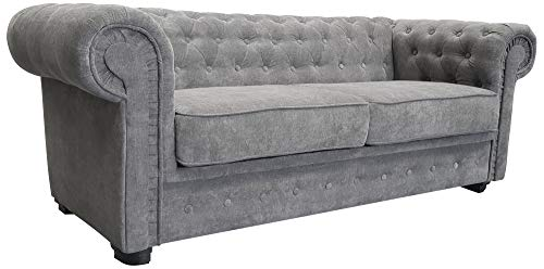 Chesterfield Style Sofa Bed Venus 3 Seater 2 Seater Fabric Grey Settee (3seater, Grey)