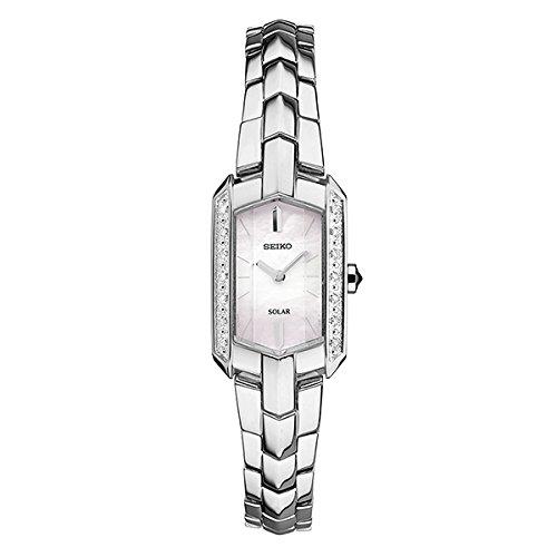 [セイコー]SEIKO 逆輸入 レディース ソーラー シェル文字盤 シルバー ステンレス ホワイトダイアモンド SUP329 腕時計 [並行輸入品]