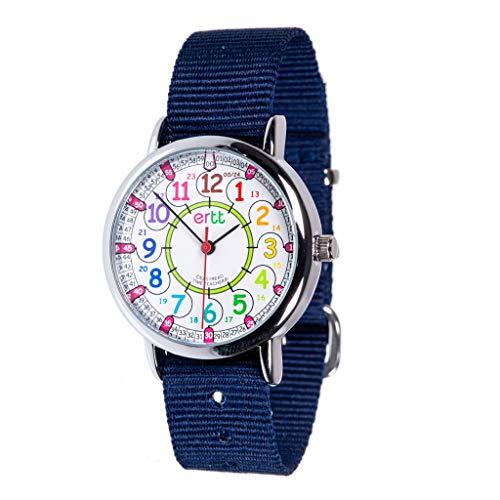 EasyRead Time Teacher Children's Watch, Rainbow 12/24 Hour Face, Navy Blue Strap