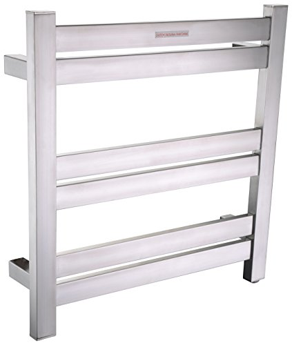 ANZZI Starling 6-Bar Wall Mounted Brushed Nickel Towel Warmer | Energy Efficient 80W Electric Plug in Heated Towel Rack for Bathroom | Stainless Steel Towel Heater Rail Quick Towel Dryer | TW-AZ025BN