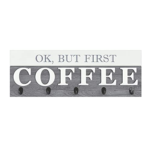 """Barnyard Designs 'Ok, But First Coffee' Hanging Mug Holder, Wall Mounted Coffee Cup Organizer Rack, Rustic Farmhouse Wood Wall Decor Sign, for Kitchen, Coffee Bar or Cafe, Gray and White, 24"""" x 8.5"""""""