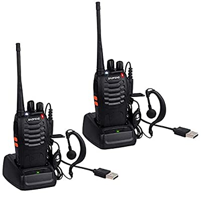 BaoFeng USB Rechargeable Walkie Talkies Long Range UHF 400-470MHz 16 Channels Two Way Radios CTCSS DCS with Earpiece