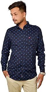 Darien Range Blue Anchor Printed 100% Cotton Slim Fit Casual Shirt