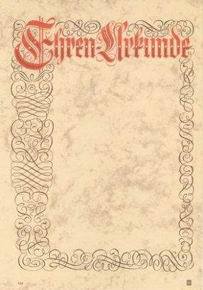 Albert Hoffmann Urkundenverlag Ehrenurkunden / 134 / PC-Urkunden (170 g/m²) 10 Stk