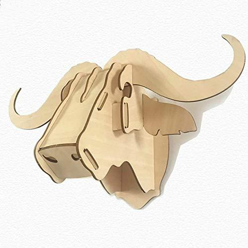 AUC Trofeo de madera de cabeza de toro DIY 3D Puzzle azul decoración de pared para sala de estar oficina