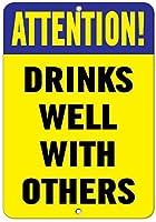 注意! 他のおもしろい引用でよく飲むアルミニウム金属看板