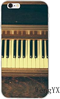 Brown Black Piano Pattern Galaxy S7 Edge Case White Music Theme I Phone Cover Keyboards Italian Organ Instrument Musical Orchestra Classic Italy Cellphone Protector, Plastic