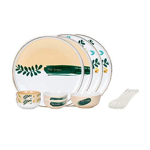 NYKK Conjunto de vajillas Elegantes Conjunto de vajillas de cerámica 12 Piezas (tazón de Sopa, Placa, Cuchara y Cuencos Conjuntos), Servicio para 4, Conjunto de Platos de Cocina
