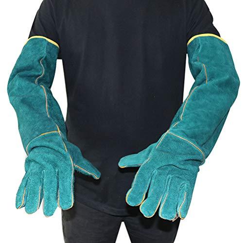 OTentW Anti-Bite Sicherheit Bite Handschuhe für Fangen Hund, Katze, Reptil, Tier Ultra Lange Leder Grüne Haustiere Greifen Beißen Schutz Handschuhe
