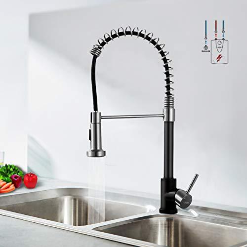 Lonheo Flexible Niederdruck Armatur Küche Schwarz aus Edelstahl Niederdruckarmatur Küchenarmatur mit herausziehbarer Dual-Spülbrause Küche Wasserhahn Spültischarmatur Mischbatterie für Küche Boiler