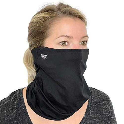 One Size Cooling Neck Gaiter Face Mask – USA Made Washable Face Scarf Mask for Men & Women – Cloth Face Mask Scarf - Face Cover for Nose and Mouth – Made in The USA, Black