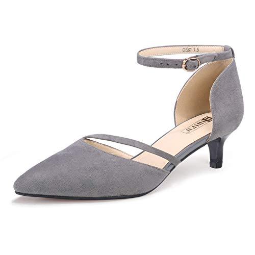 IDIFU Women's IN2 Maxine Wedding Low Kitten Heels Closed Toe Party Dress Pumps Shoes for Bridal Bride Women(Gray Suede, 95 M US)