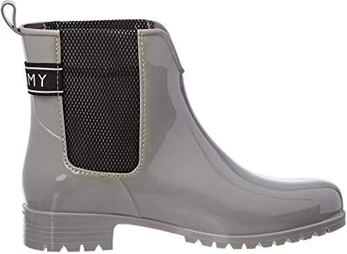 Tommy Hilfiger Damen COOL Tommy Ribbon Rainboot Gummistiefel, Grau (Diamond Grey 001), 38 EU