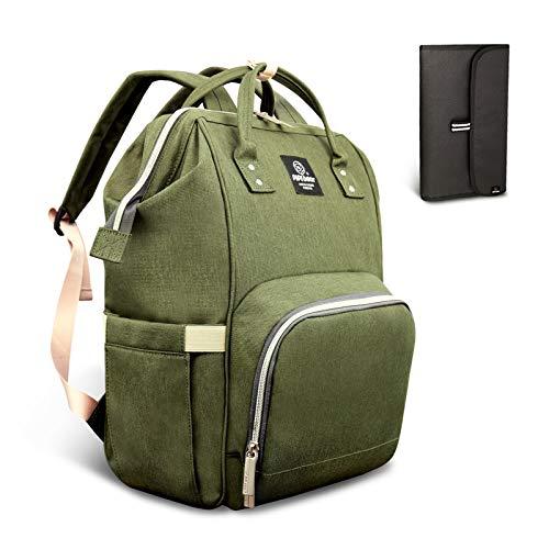 HEYI bolso cambiador multifuncional mochila de pañales bebe, bolso maternal mochila impermeable, mochila del viaje de la mamá de grande capacidad (Verde oliva)