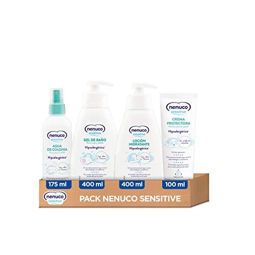 Nenuco Sensitive Pack Gama Hipoalergénica - Agua de Colonia 175ml + Gel de Baño 400ml + Loción Hidratante 400ml + Crema Pañal 100ml