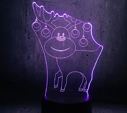 3D Illusion Lamp Remote Control Night Light Adorable Reindeer 3D USB LED Lamp Colour Changing Christmas Romantic Gift Desk Night Light Bulb Lovely Children Gifts lamp
