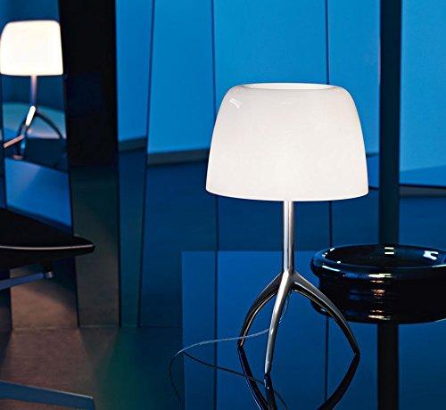 FOSCARINI - Tischleuchte Foscarini Lumiere 05 Kleiner Dimmer - Aluminium / Weiß