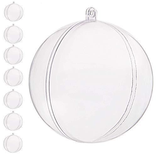 SPRINGOS Bola de acrílico Bola de plástico decoupage 14 cm 4/8/10/12 Piezas Transparentes Bolas de Navidad Transparentes